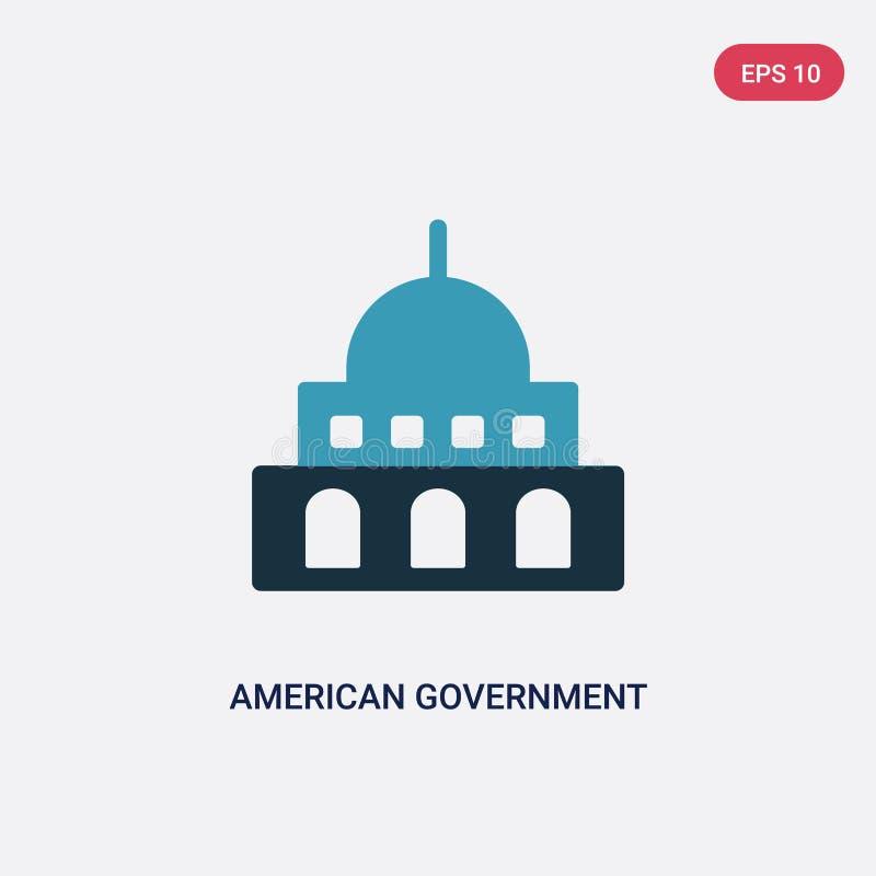 Icona americana di vettore della costruzione di governo di due colori dal concetto politico segno americano blu isolato di vettor royalty illustrazione gratis