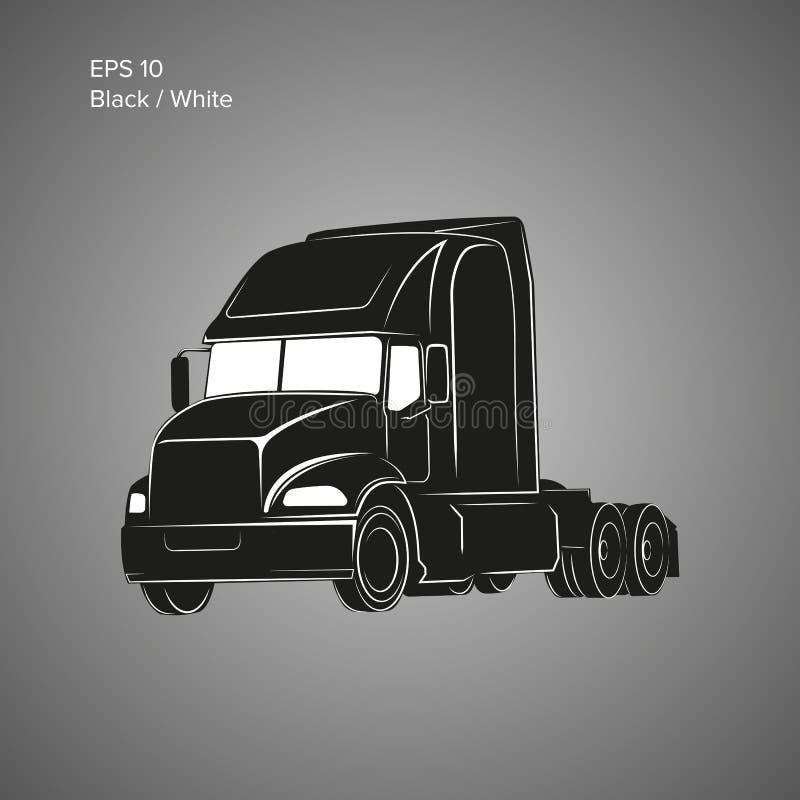 Icona americana moderna di vettore del camion Illustrazione pesante di trasporto illustrazione di stock