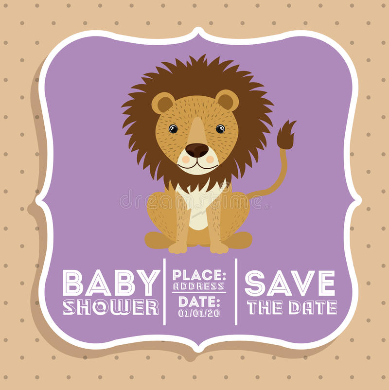 Icona animale della carta della doccia di bambino del leone royalty illustrazione gratis