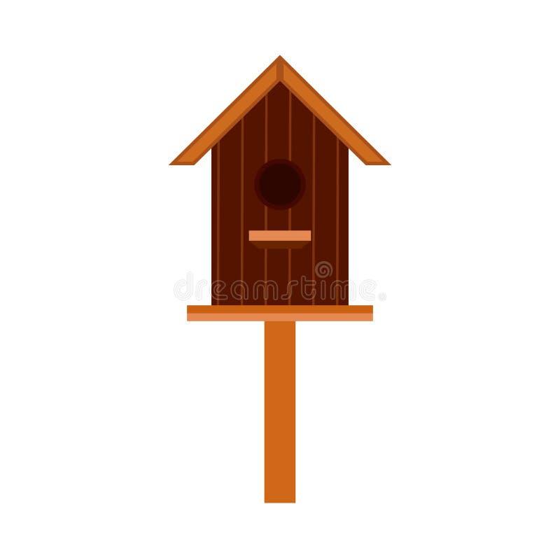 Icona animale di vettore dell'elemento del fumetto di progettazione del nido per deporre le uova La casa di legno dell'uccello ha illustrazione vettoriale