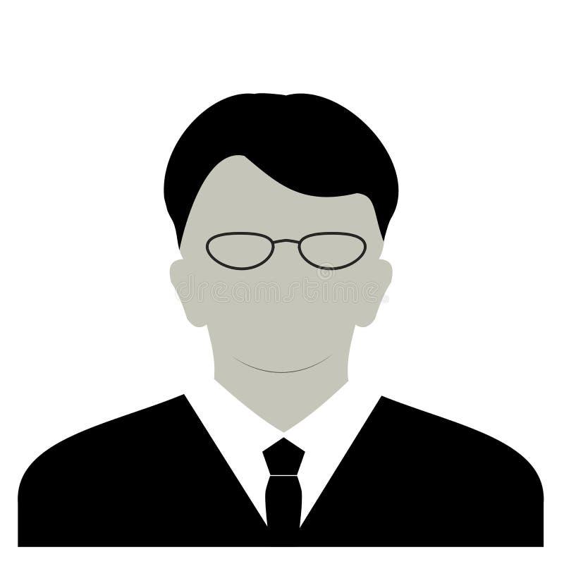 Icona anonima del fronte di profilo Persona grigia della siluetta Avatar maschio di difetto di profilo dell'uomo d'affari Segnapo illustrazione di stock