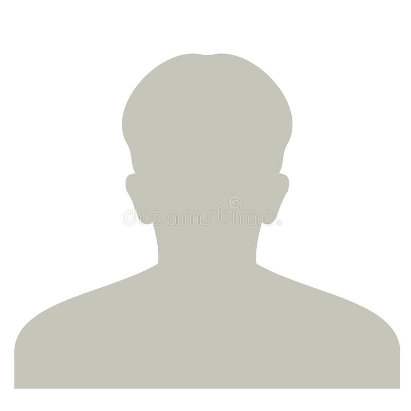 Icona anonima del fronte di profilo Persona grigia della siluetta Avatar predefinito del maschio Segnaposto della foto Su bianco royalty illustrazione gratis