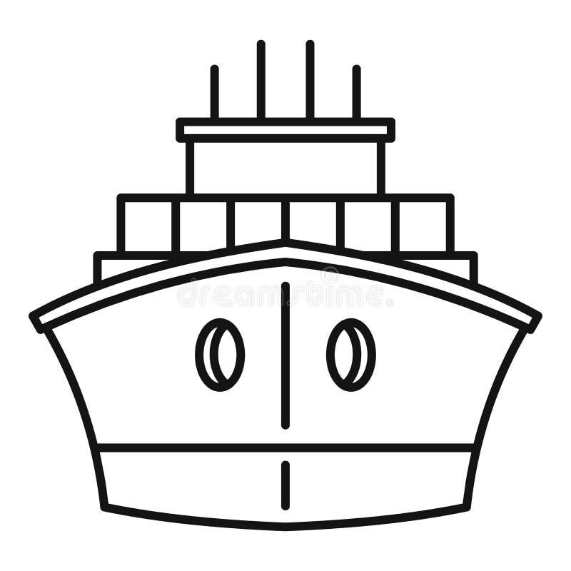 Icona anteriore della nave porta-container, stile del profilo illustrazione vettoriale
