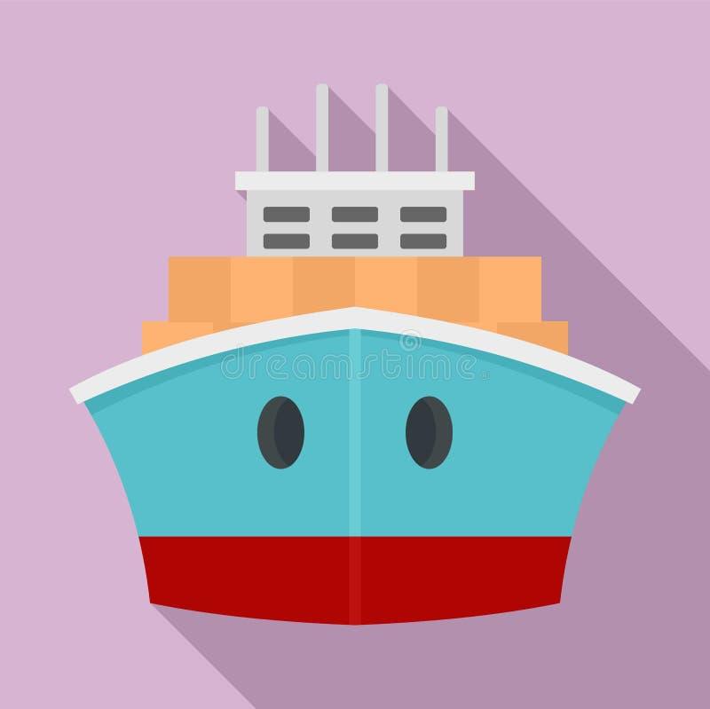 Icona anteriore della nave porta-container, stile piano royalty illustrazione gratis