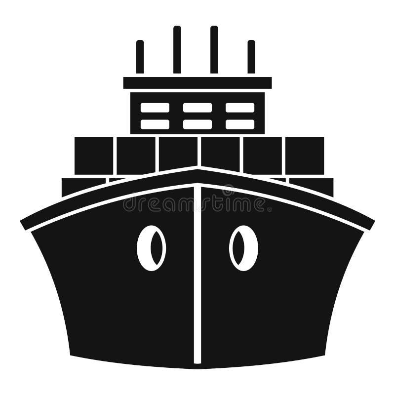 Icona anteriore della nave porta-container, stile semplice illustrazione di stock
