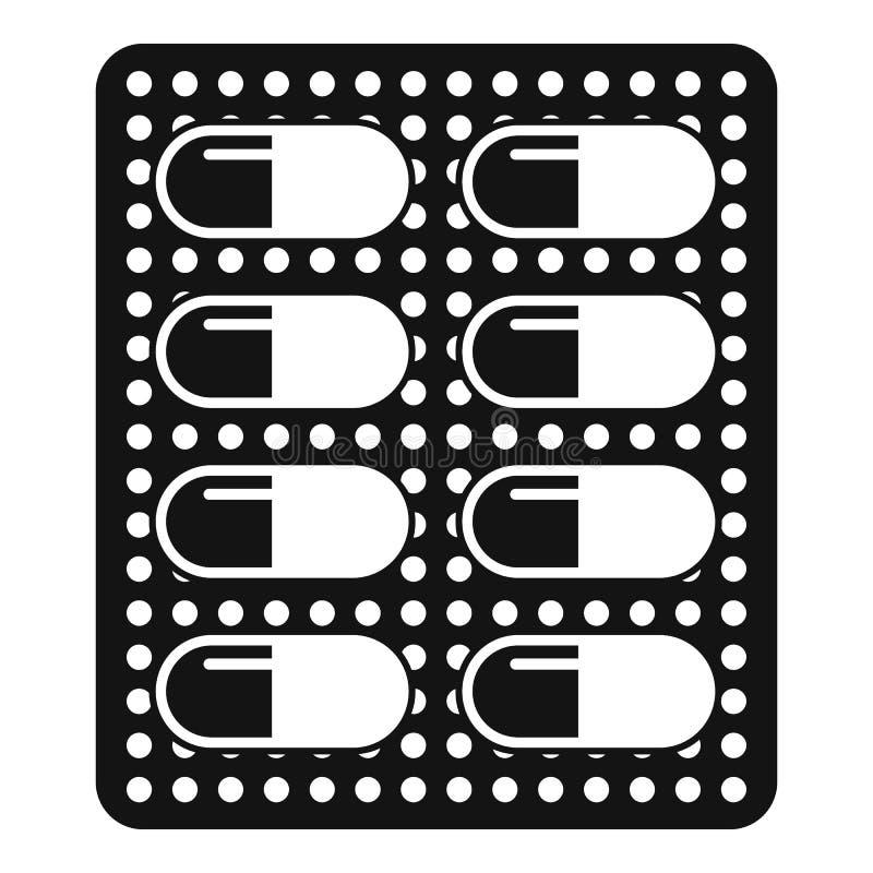 Icona antibiotica del pacchetto della dose, stile semplice illustrazione vettoriale
