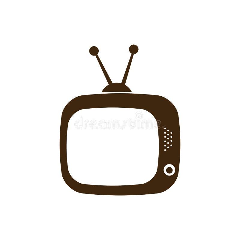 icona antica della siluetta TV piana illustrazione vettoriale