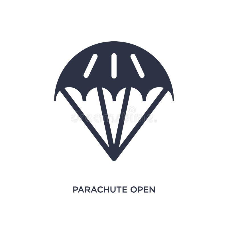icona aperta del paracadute su fondo bianco Illustrazione semplice dell'elemento dal concetto del terminale di aeroporto illustrazione di stock
