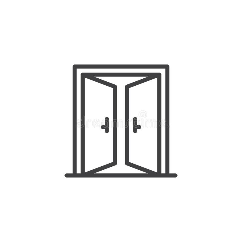 Icona aperta del profilo della doppia porta illustrazione di stock