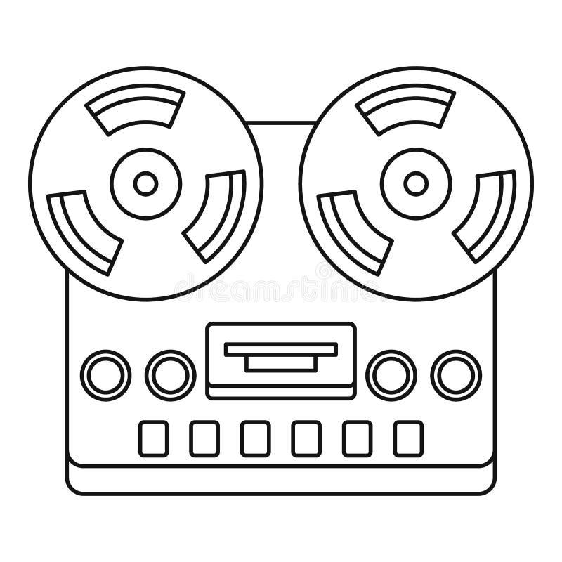 Icona aperta del registratore della piastra di registrazione della bobina di stereotipia analogica royalty illustrazione gratis