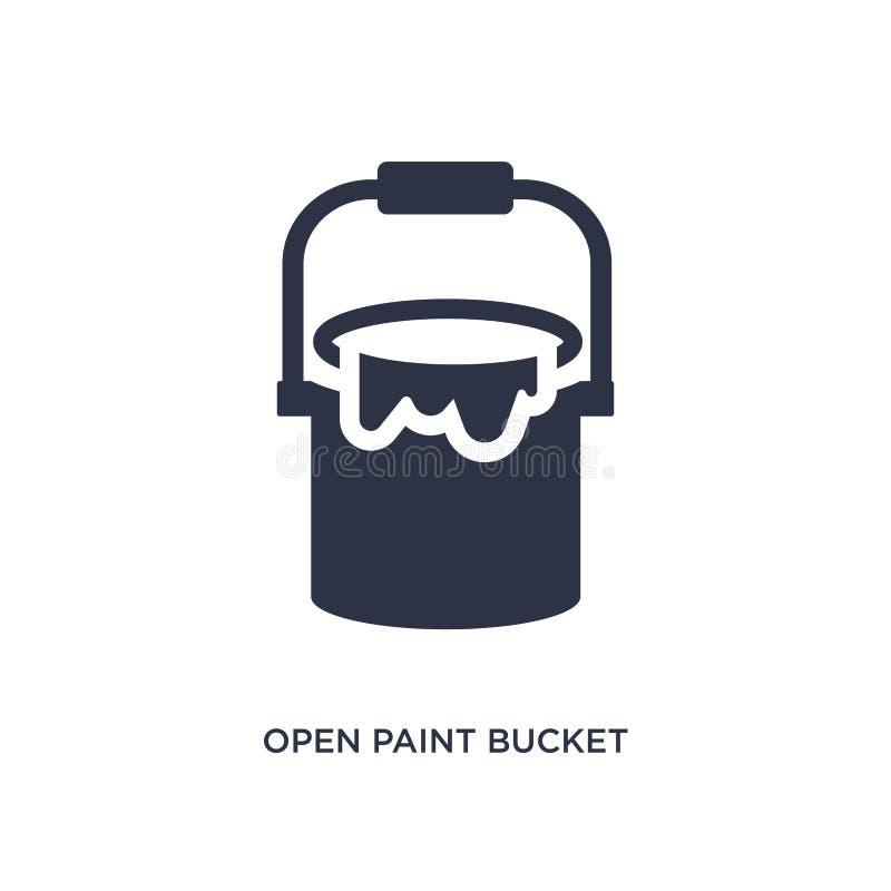 icona aperta del secchio della pittura su fondo bianco Illustrazione semplice dell'elemento dal concetto degli strumenti illustrazione vettoriale