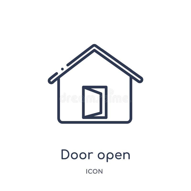 Icona aperta della porta lineare dalla raccolta del profilo delle costruzioni Linea sottile icona aperta della porta isolata su f royalty illustrazione gratis