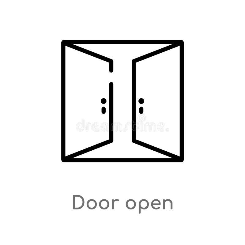 icona aperta di vettore della porta del profilo linea semplice nera isolata illustrazione dell'elemento dal concetto delle costru royalty illustrazione gratis