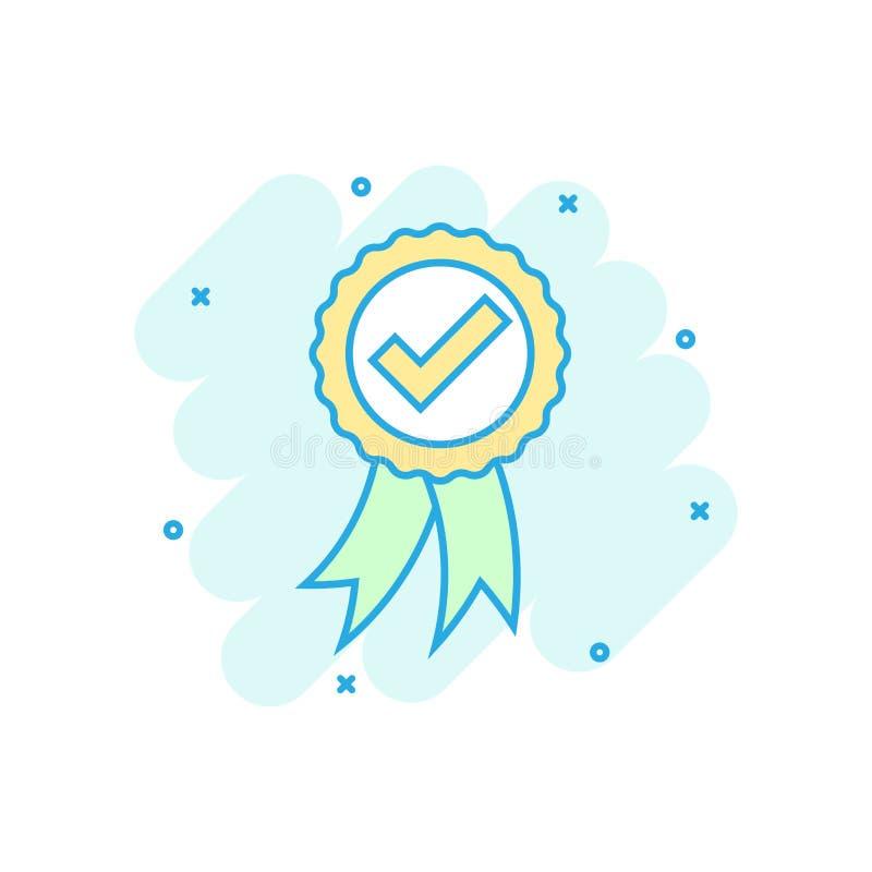Icona approvata della medaglia del certificato nello stile comico Pittogramma dell'illustrazione del fumetto di vettore del bollo illustrazione vettoriale