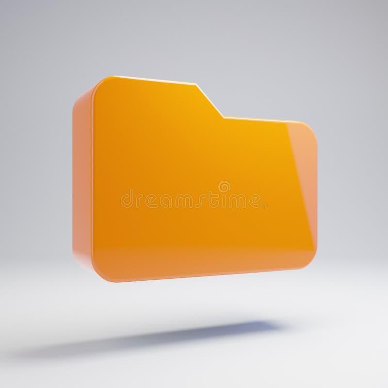 Icona arancio calda lucida volumetrica della cartella isolata su fondo bianco fotografia stock
