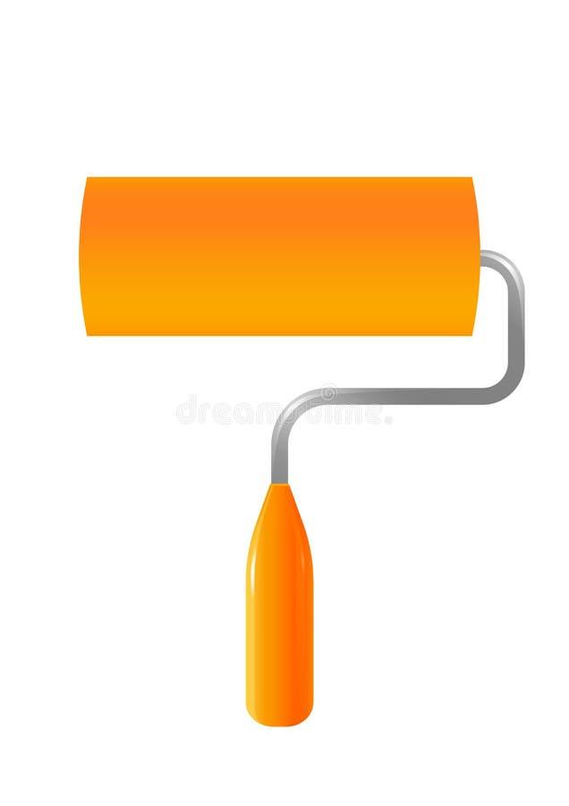 Icona arancio del rullo di pittura su fondo bianco royalty illustrazione gratis
