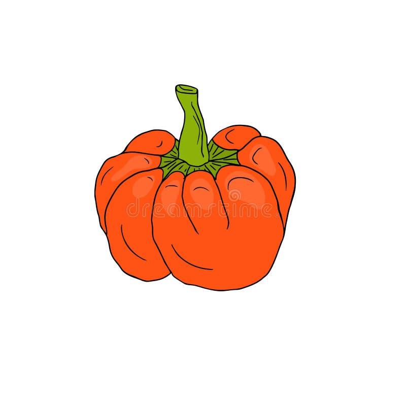 Icona arancio di vettore del pepe Autoadesivo di verdure Ingredienti per il libro di ricetta illustrazione vettoriale