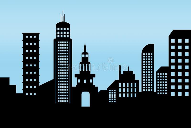 Icona architettonica nera della costruzione di paesaggio urbano progetti lo stile piano della siluetta sul vettore blu dell'illus illustrazione di stock