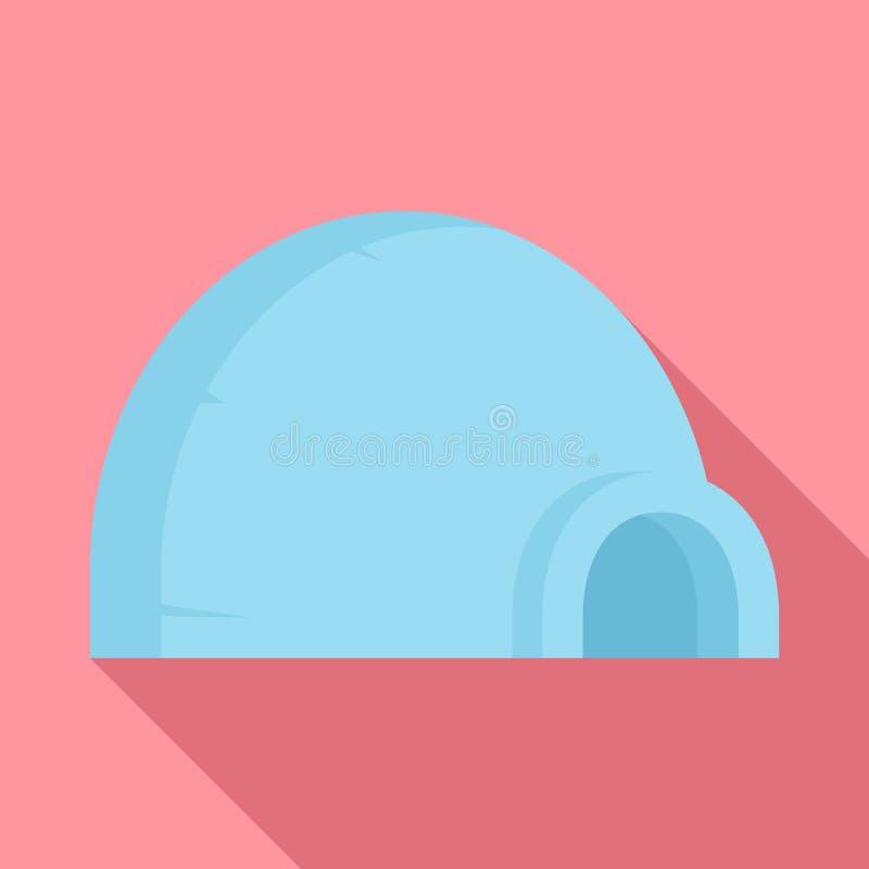 Icona artica dell'iglù, stile piano illustrazione di stock