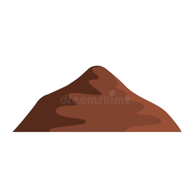 Icona asiatica della montagna, stile piano illustrazione vettoriale