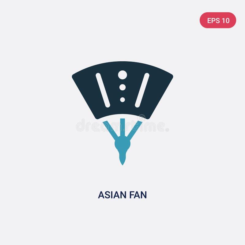 Icona asiatica di vettore del fan di due colori dal concetto dei segni il simbolo asiatico blu isolato del segno di vettore del f illustrazione di stock