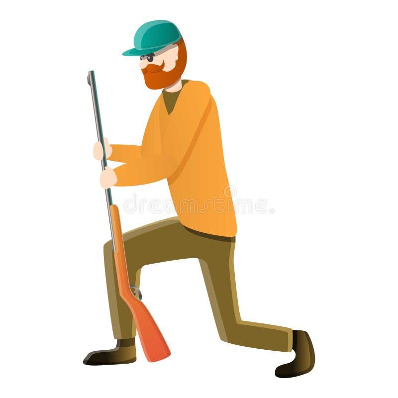Icona aspettante del cacciatore, stile del fumetto illustrazione vettoriale
