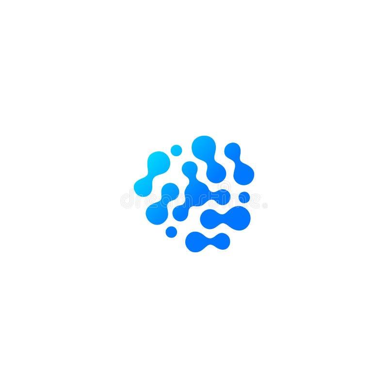 Icona astratta blu della goccia di acqua Composto molecolare, reazione chimica Forma astratta, logo isolato, sillhoutte insolito illustrazione di stock