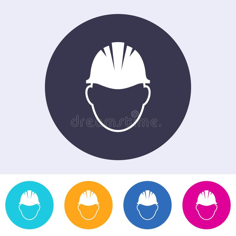 Icona astratta del segno del casco di sicurezza di vettore royalty illustrazione gratis