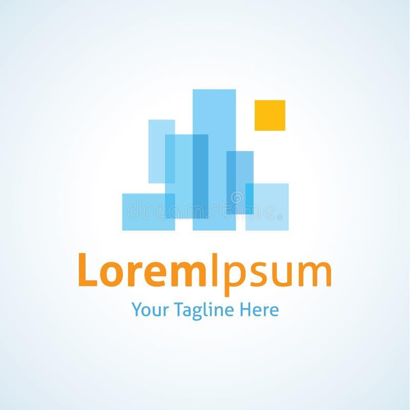 Icona astratta di logo del paesaggio di vista della città illustrazione di stock