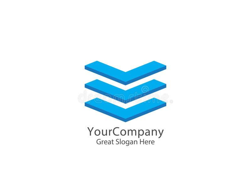 Icona astratta di logo della lettera iniziale V giù concetto di progetto della freccia illustrazione vettoriale