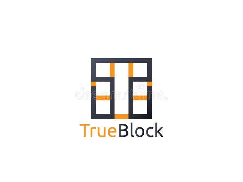 icona astratta di logo della lettera T di alfabeto segno del blocchetto della parete della piastrella per pavimento illustrazione di stock