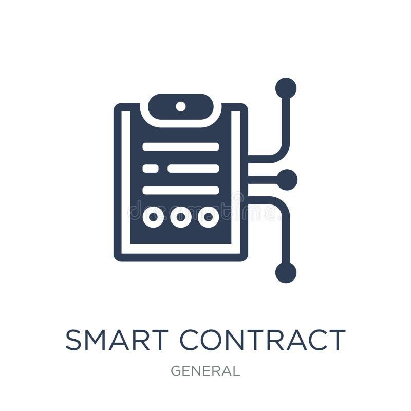 icona astuta del contratto Icona astuta del contratto di vettore piano d'avanguardia su w illustrazione vettoriale