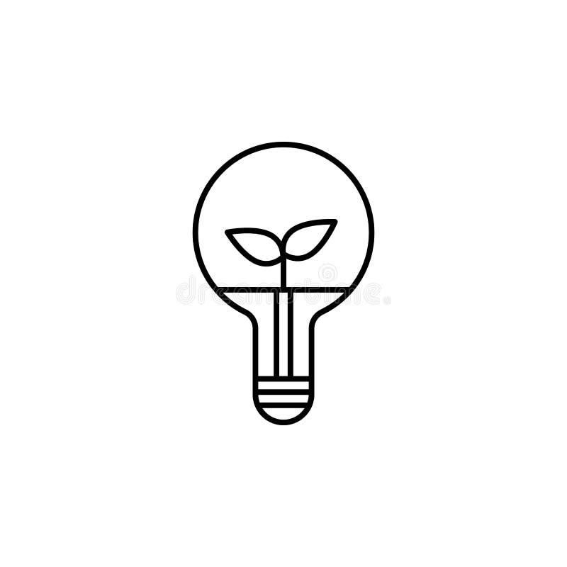 Icona astuta della pianta e della lampada di idea naturale Elemento dell'icona futura di tecnologia per i apps mobili di web e di illustrazione di stock
