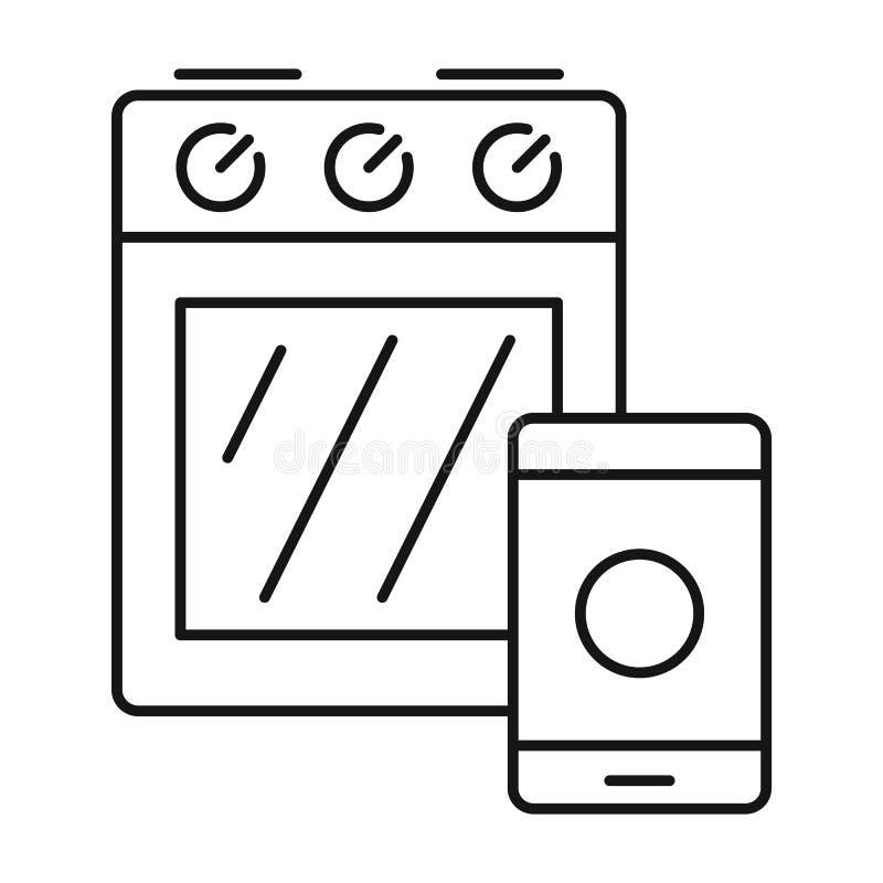 Icona astuta della stufa del fornello, stile del profilo royalty illustrazione gratis