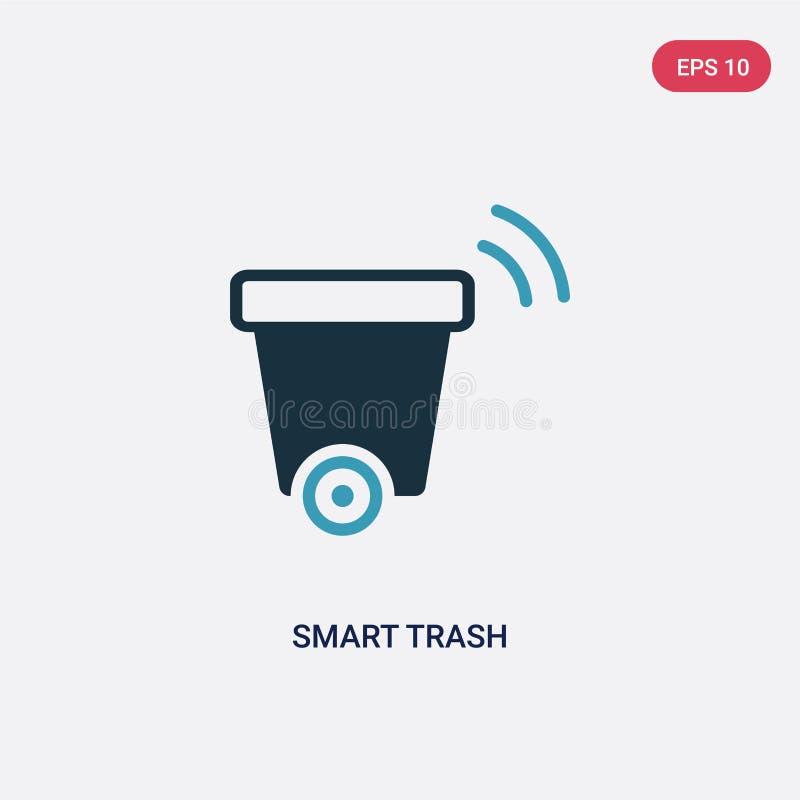 Icona astuta di vettore dei rifiuti di due colori dal concetto domestico astuto il simbolo astuto blu isolato del segno di vettor royalty illustrazione gratis