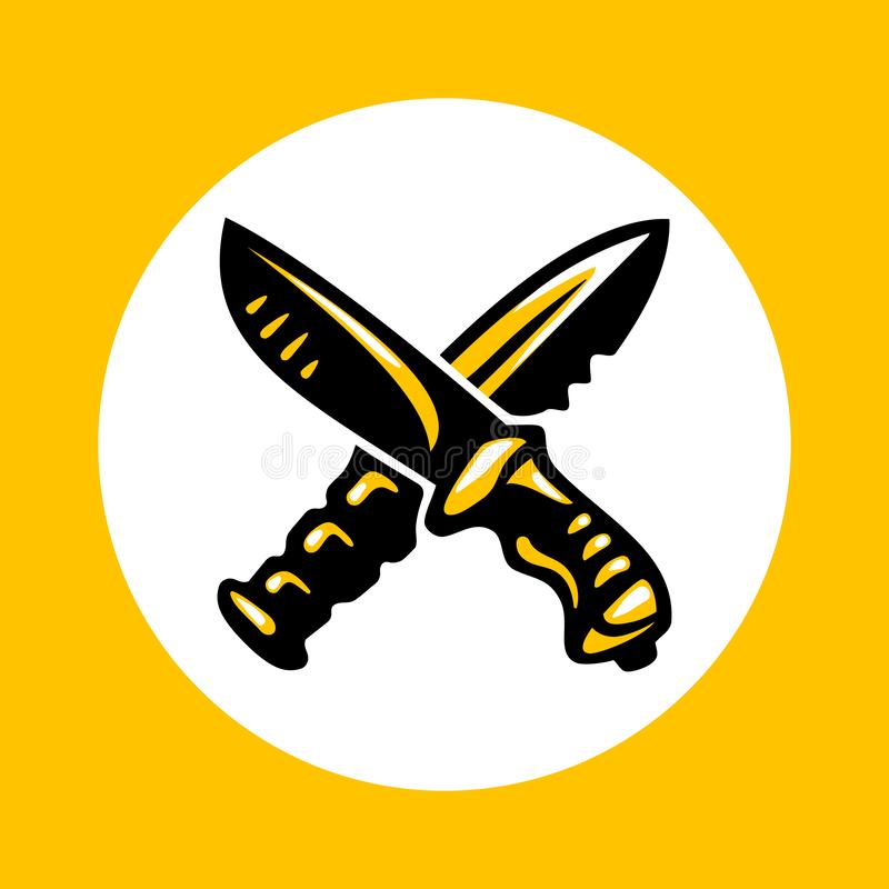 Icona attraversata dei coltelli nello stile piano d'avanguardia royalty illustrazione gratis