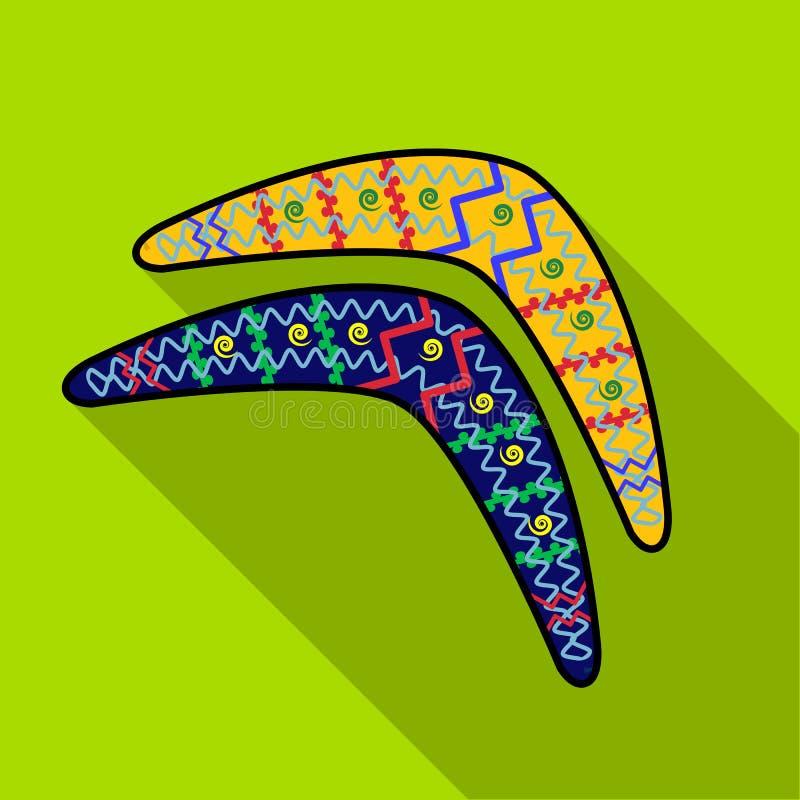 Icona australiana del boomerang nello stile piano isolata su fondo bianco Illustrazione di vettore delle azione di simbolo dell'A royalty illustrazione gratis