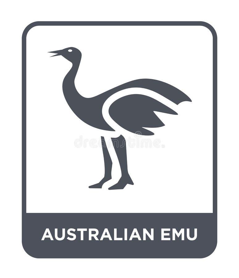 icona australiana dell'emù nello stile d'avanguardia di progettazione icona australiana dell'emù isolata su fondo bianco icona au illustrazione vettoriale