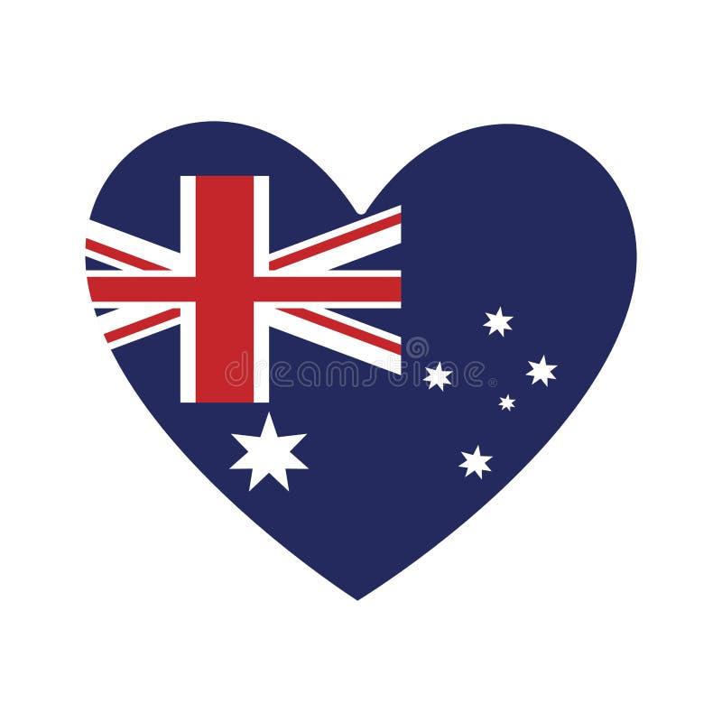 icona australiana della bandiera di forma del cuore royalty illustrazione gratis