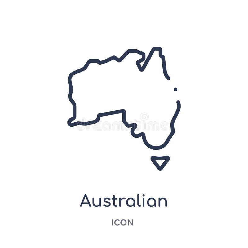 Icona australiana lineare del continente dalla raccolta del profilo della cultura Linea sottile vettore australiano del continent illustrazione vettoriale