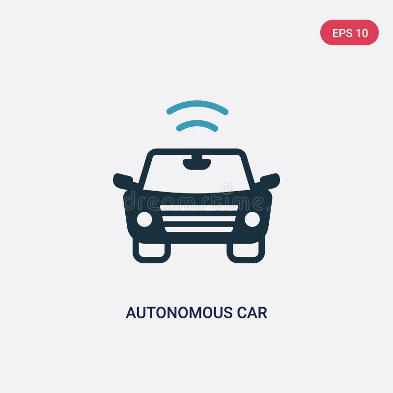Icona autonoma di vettore dell'automobile di due colori dal concetto della casa intelligente il simbolo autonomo blu isolato del  illustrazione vettoriale
