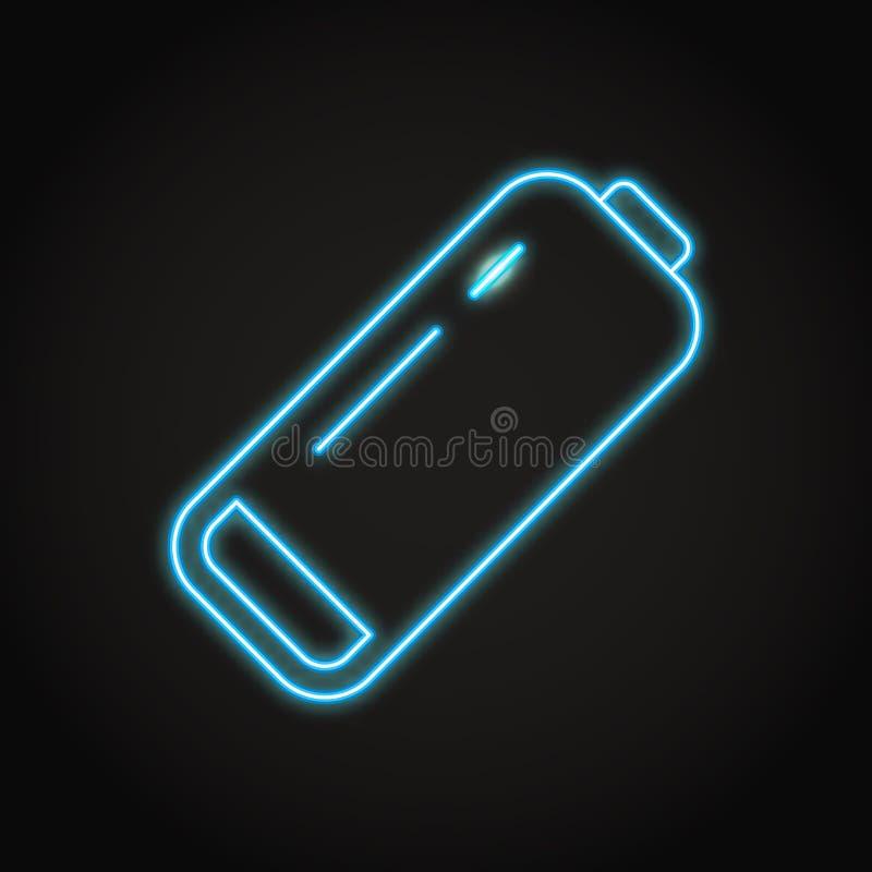 Icona bassa della batteria nella linea stile al neon illustrazione di stock