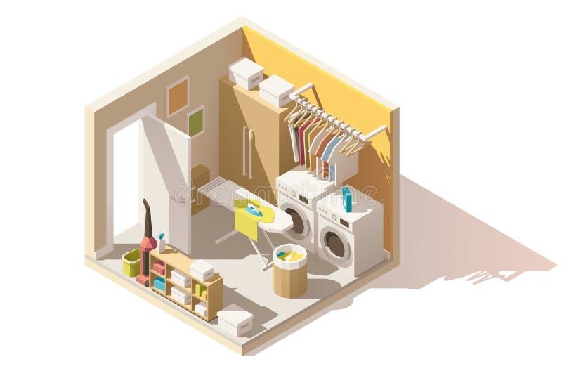 Icona bassa isometrica della stanza di lavanderia di vettore poli illustrazione vettoriale