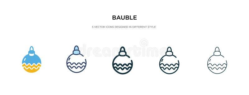 Icona Bauble in illustrazione vettoriale di stile differente due icone dei vettori colorate e nere disegnate in linee, linee, lin illustrazione vettoriale
