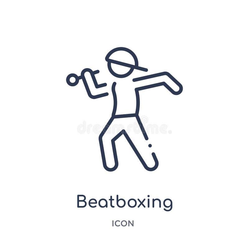 Icona beatboxing lineare da attività e dalla raccolta del profilo di hobby Linea sottile vettore beatboxing isolato su fondo bian royalty illustrazione gratis