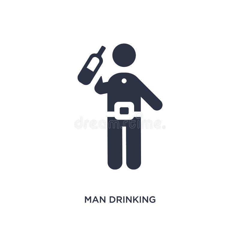 icona bevente dell'uomo su fondo bianco Illustrazione semplice dell'elemento dal concetto di comportamento royalty illustrazione gratis