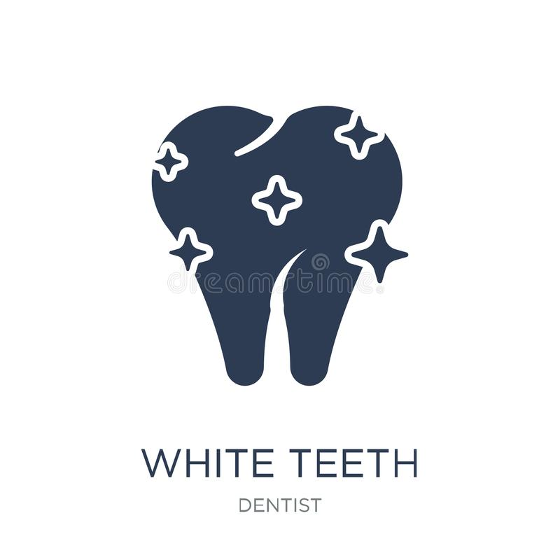 Icona bianca dei denti Icona bianca dei denti di vettore piano d'avanguardia sulla b bianca royalty illustrazione gratis