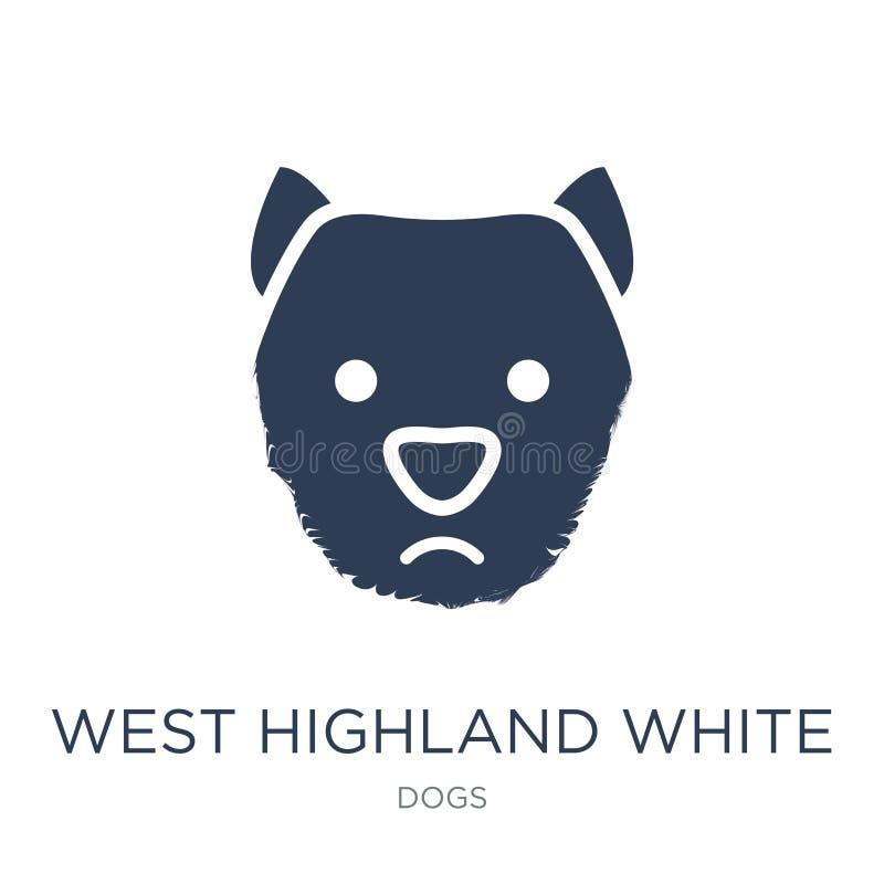 Icona bianca del cane di West Highland Terrier Ovest piano d'avanguardia di vettore ciao illustrazione di stock