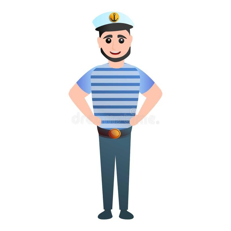 Icona bianca del cappuccio del marinaio, stile del fumetto illustrazione di stock