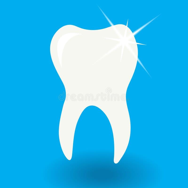 Icona bianca del dente con lustro su fondo blu con il vecto dell'ombra illustrazione vettoriale